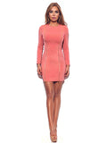 Goldie Pink Zip Up Detail Long Sleeve Stretch Crepe Bodycon Dress