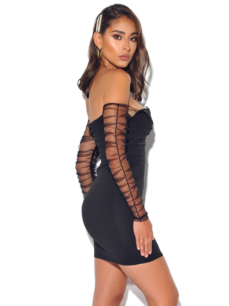 Remember Me Mesh Sleeve Black Stretch Crepe Dress