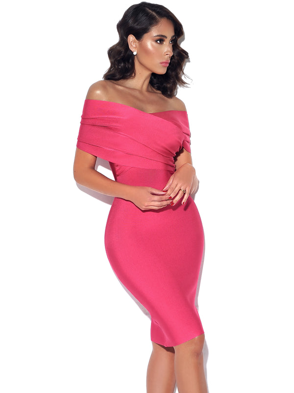 Honey Pie Off Shoulder Salmon Pink Bandage Dress - Miss Circle