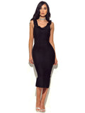 Piper Black Ruffle Neckline Bandage Dress