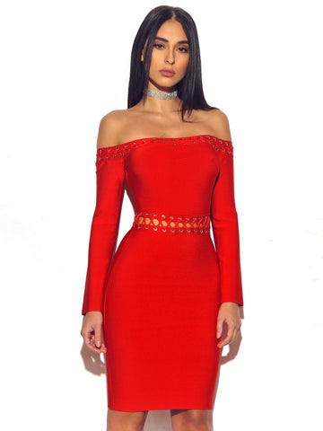 Robyn Red Lace Up Lattice Detail Off Shoulder Long Sleeve Bandage Dress