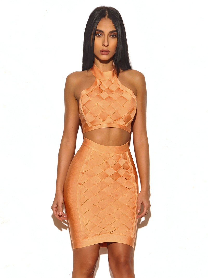 Anisa Lattice Weave Detail Two Piece Bandage Dress - Miss Circle