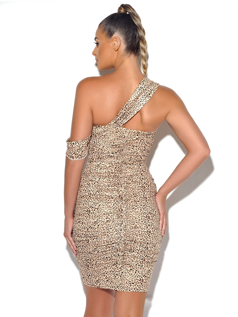 Kitty Kat Leopard Draping Strap Ruched Stretch Crepe Dress - Miss Circle