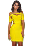 Monica Cutout Detail Yellow Off Shoulder Bandage Dress