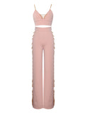Ilona Pink Chain Detail Two Piece Stretch Crepe Pantsuit