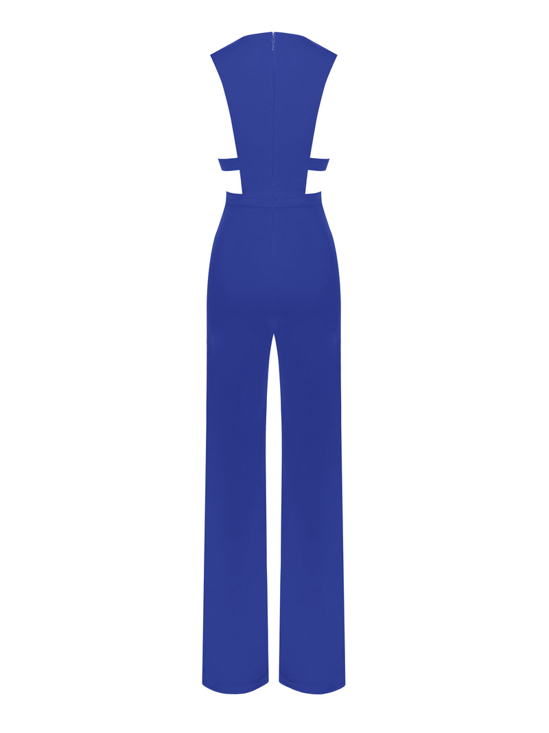 Know Yourself Blue Deep V Cut Out Stretch Crepe Jumpsuit - Miss Circle