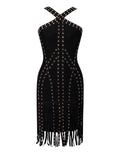 Dindi Black Studded Fringe Detail Bandage Dress