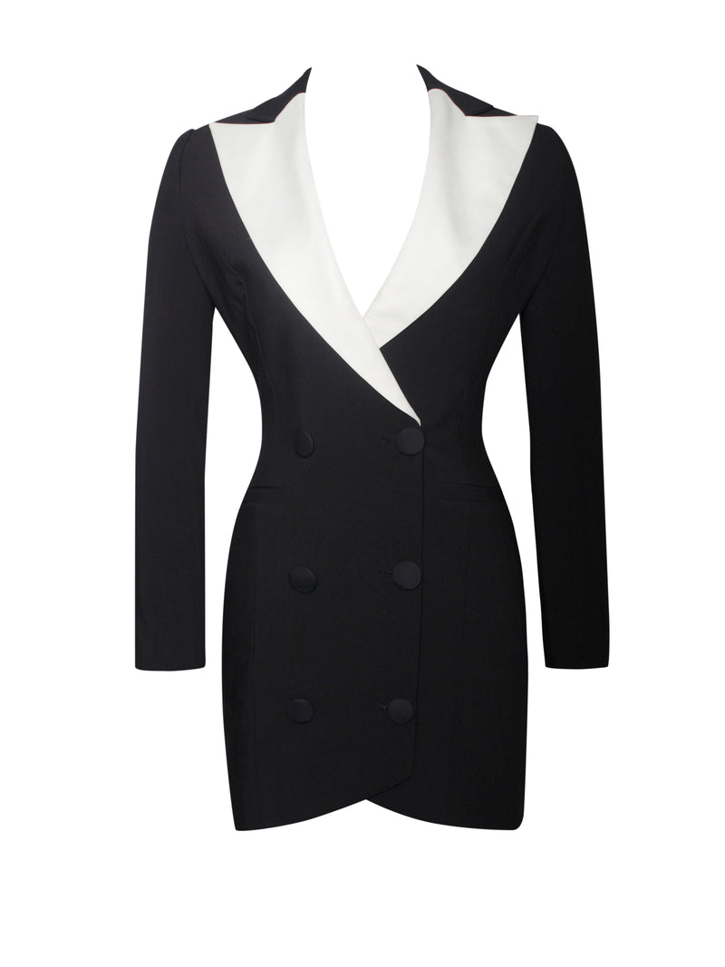 Viola Black Crepe Blazer Dress