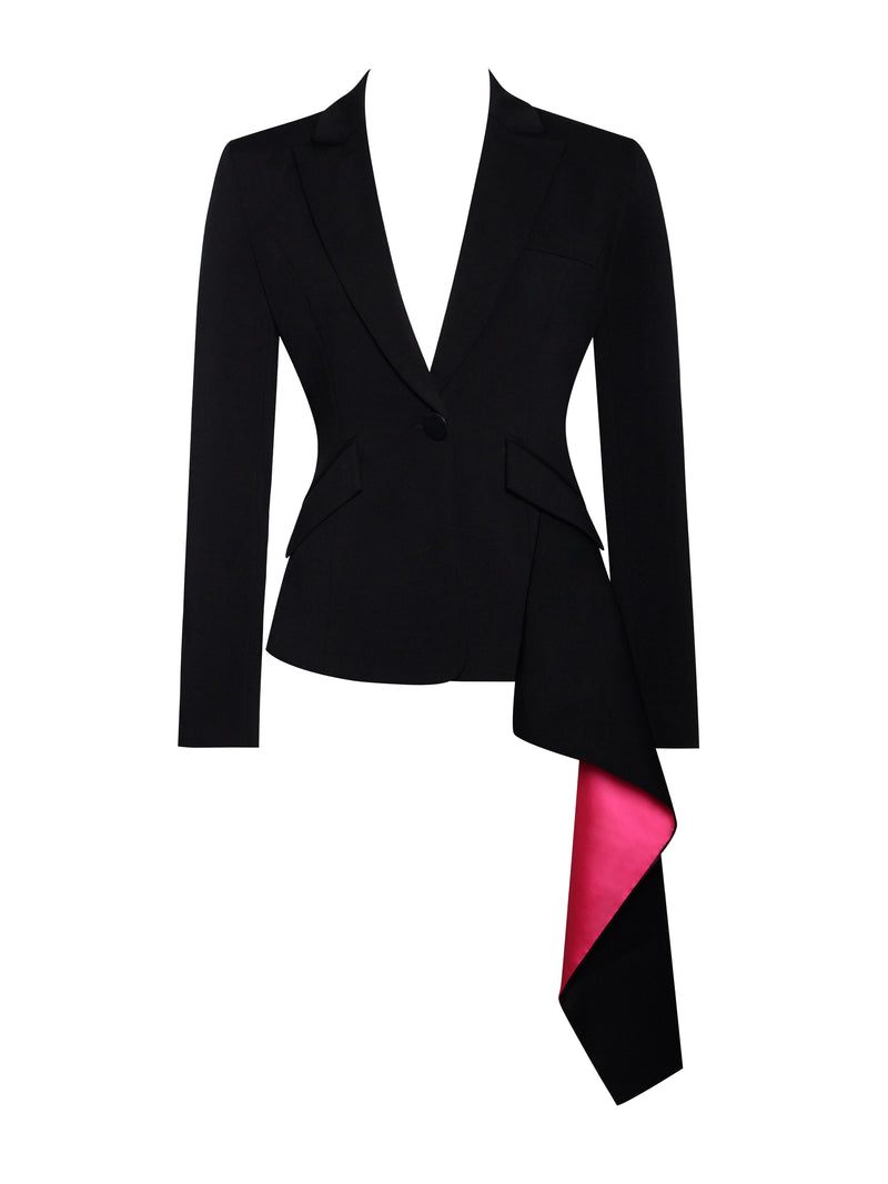 Zemora Black Draping Blazer Jacket