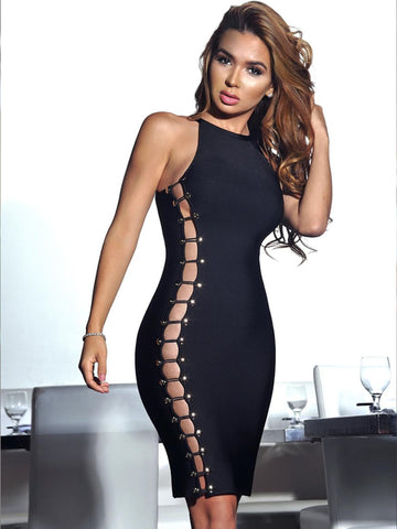 Sonja Black Button Detailed Cutout Bandage Dress