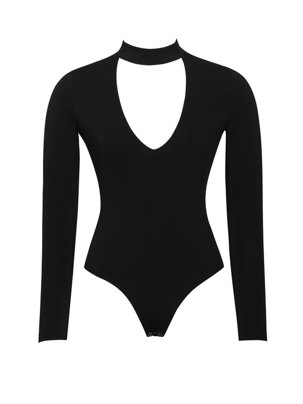Taryn Cutout Long Sleeve Stretch Crepe Bodysuit - Miss Circle