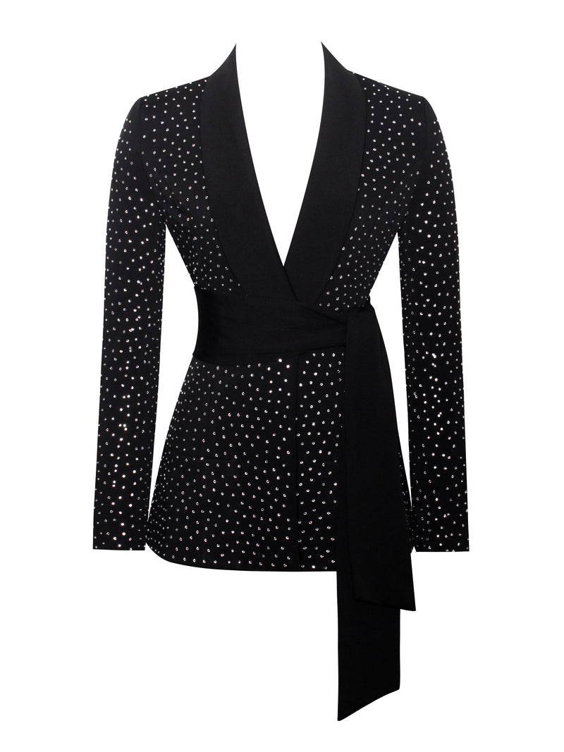 Visionary Crystal Embellished Black Blazer Jacket - Miss Circle