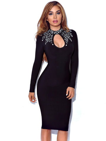 Evelina Crystal Detail Keyhole Long Sleeve Bandage Dress