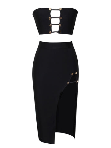 Zina Black Two Piece Bandage Dress with Stud Buttons