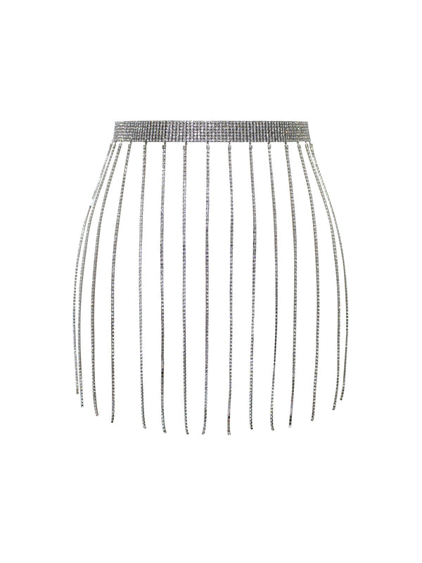 Metallic Crystal Fringe Skirt Waist Chain - Miss Circle