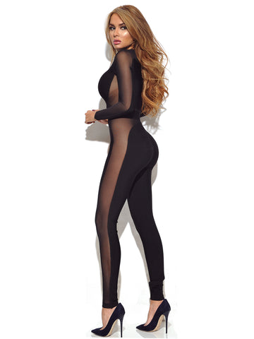 Lindsey Black Sheer Detail Long Sleeve Bandage Jumpsuit