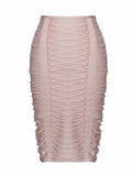 Divina Ripple Textured Lace-Up Detail Bandage Skirt