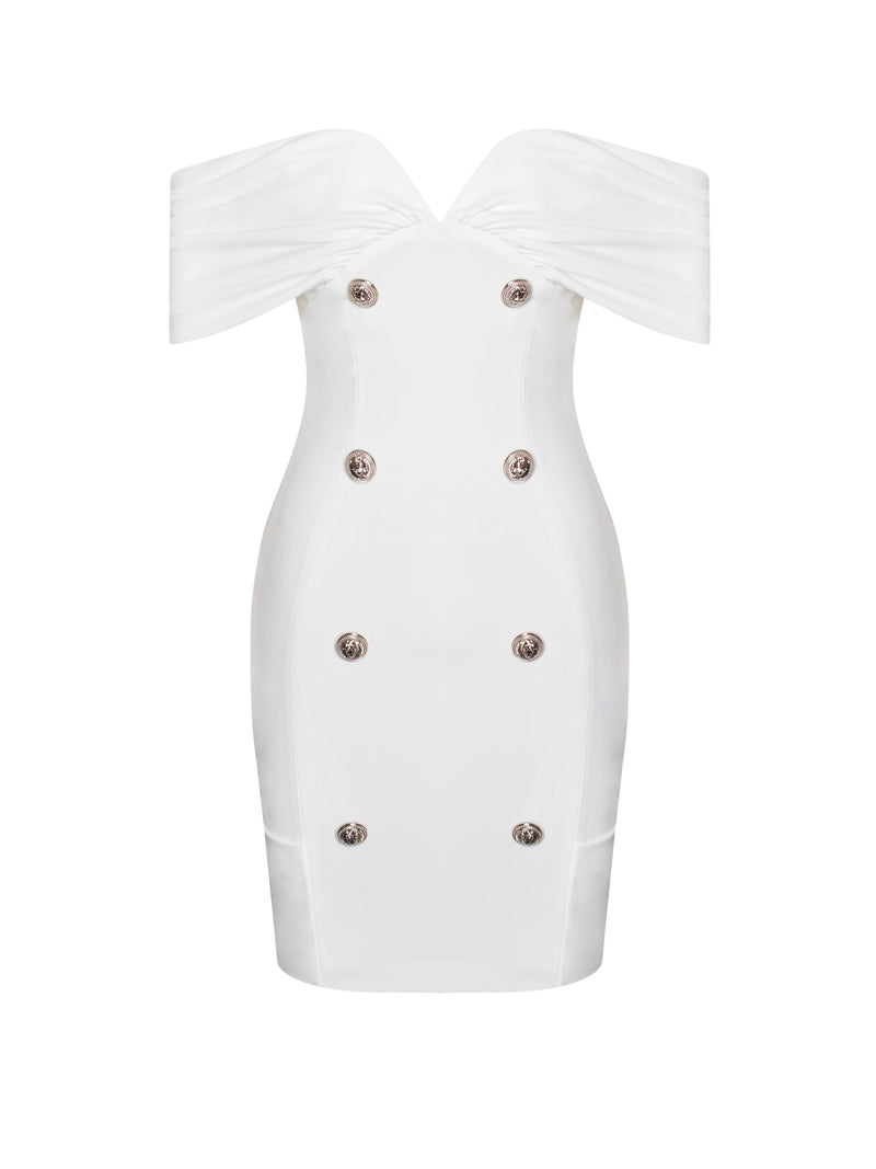 Daria White Off Shoulder Dress With Buttons