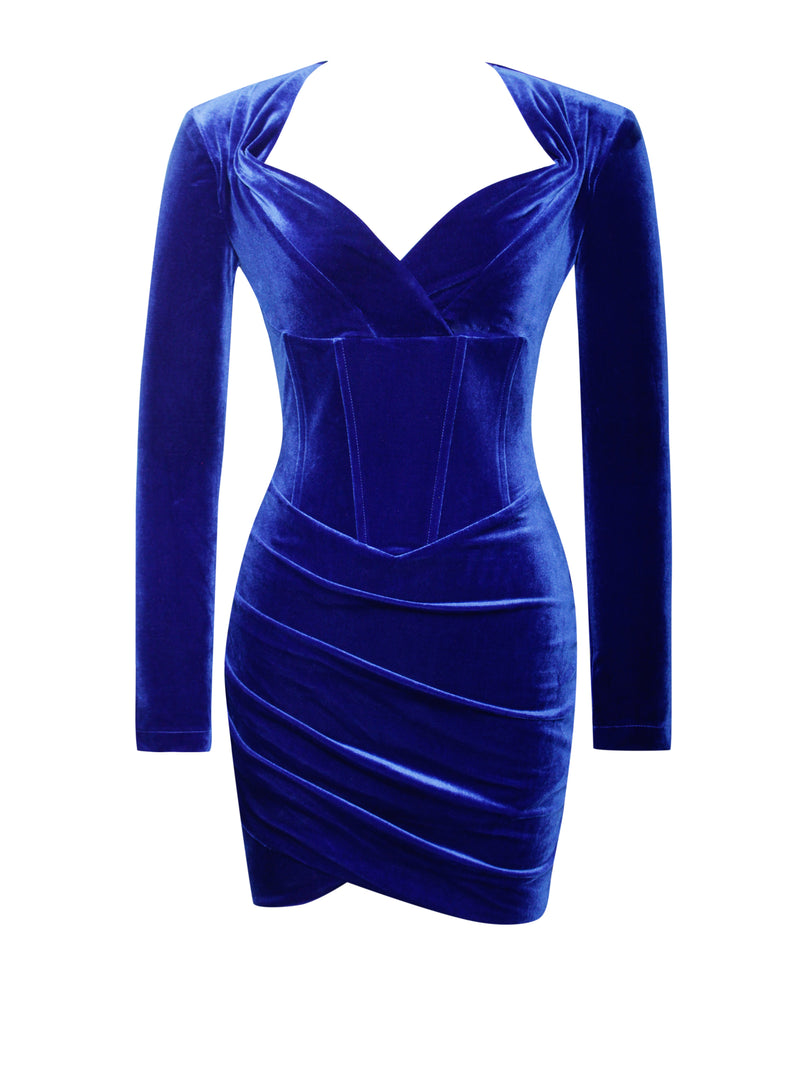 Tamara Royal Blue Long Sleeve Corset Velvet Dress