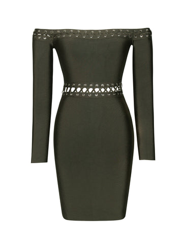 Robyn Lace Up Lattice Detail Off Shoulder Long Sleeve Bandage Dress