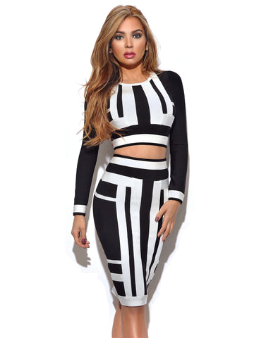 Janis Black and White Long Sleeve Two Piece Bandage Dress