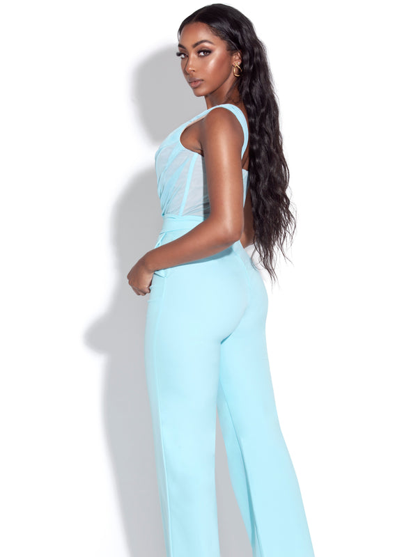 Malika Teal One Shoulder Corset Jumpsuit