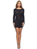 Etta Sequin Detail Sheer Mesh Black Backless Dress