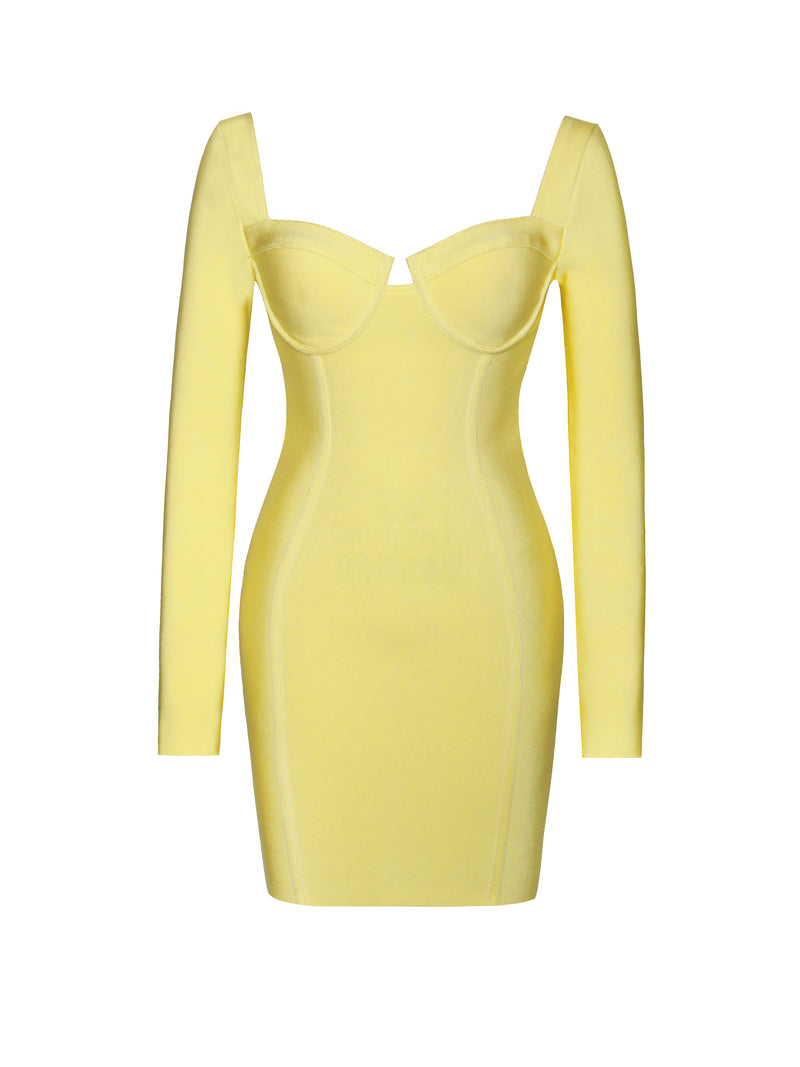 Just For You Long Sleeve Bandage Dress In Lemon - Miss Circle