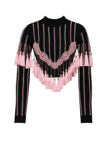 Iris Pink Tassel Detail Long Sleeve Crop Top