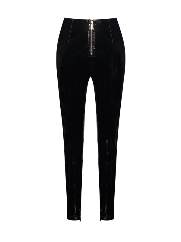 Indira High Waisted Front Zip Stretch Vinyl Leggings - Miss Circle