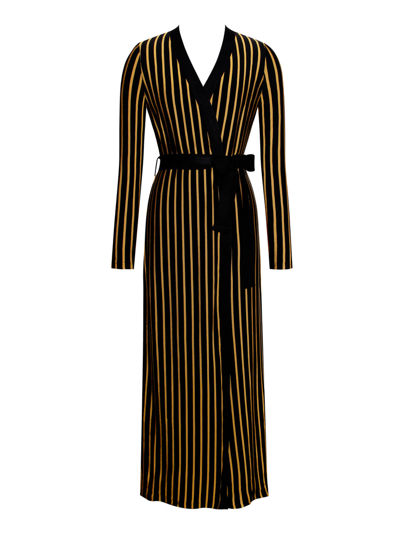 Kora Jacquard Gold Stripe Bandage Cape Sweater With Tie - Miss Circle