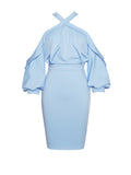 Ursa Criss Cross Halter Draped Sleeve Light Blue Stretch Crepe Dress