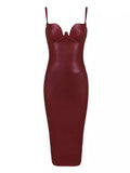 LoLa Burgundy PU Leather Dress