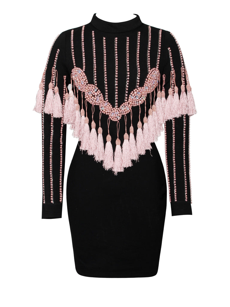 Morgana Pink Tassel Long Sleeve Stretch Crepe Dress