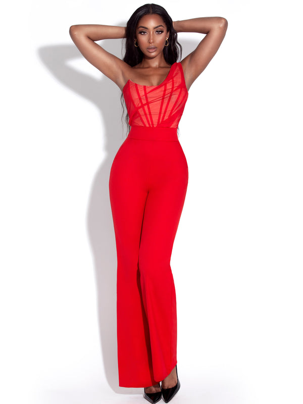 Malika Red One Shoulder Corset Jumpsuit