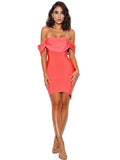Dreamer Coral Draped Off Shoulder Bandage Dress - Miss Circle