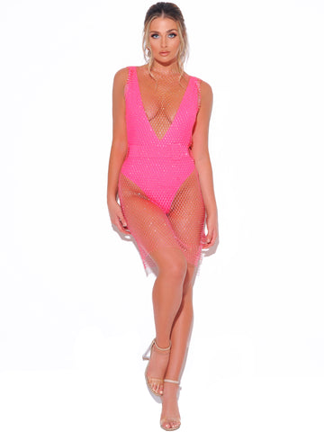 Shannon Neon Pink Diamond Crystal Fishnet Grid Mini Dress Bikini Cover Up