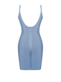 Ryder Powder Blue Bodycon Bandage Gold and Silver Diamond Detail Dress