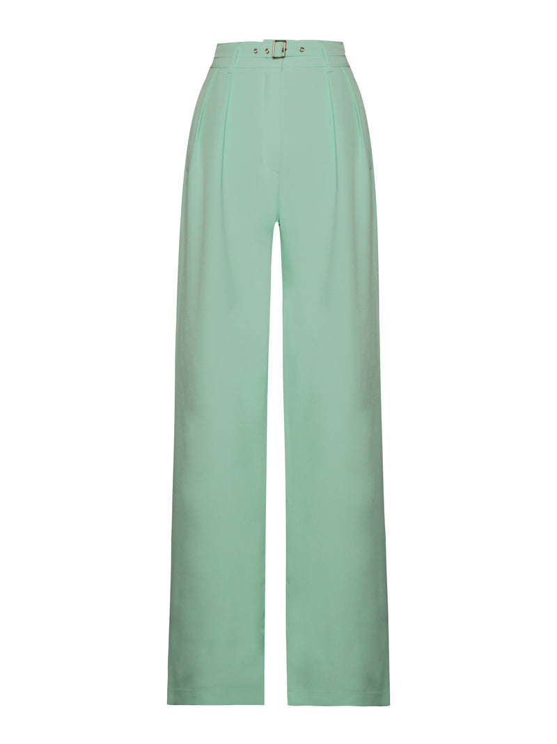 Francine Mint Stretch Crepe Wide Leg Trousers