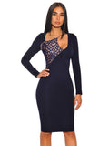 Eugena Contrast Detail Cut Out Asymmetrical Navy Long Sleeve Stretch Crepe Dress