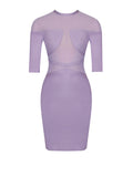 Yana Lavender Mesh Detail Three-Quarter Sleeve Bandage Dress