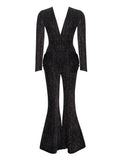 Oxana Flared Pants Deep V-Neck Long Sleeve Jumpsuit