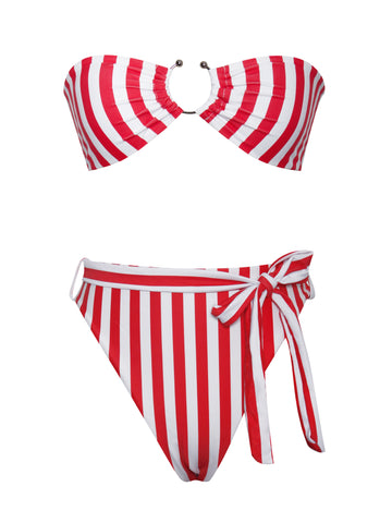 Boracay Red and White Stripe Bikini Set with Centre Ring