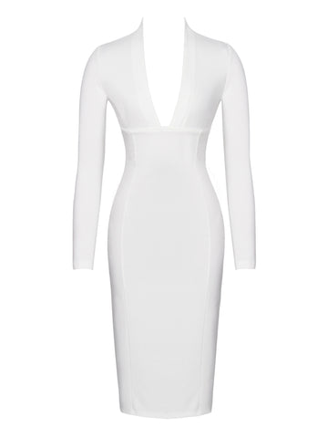 Donna Winter White Long Sleeve Stretch Crepe Dress