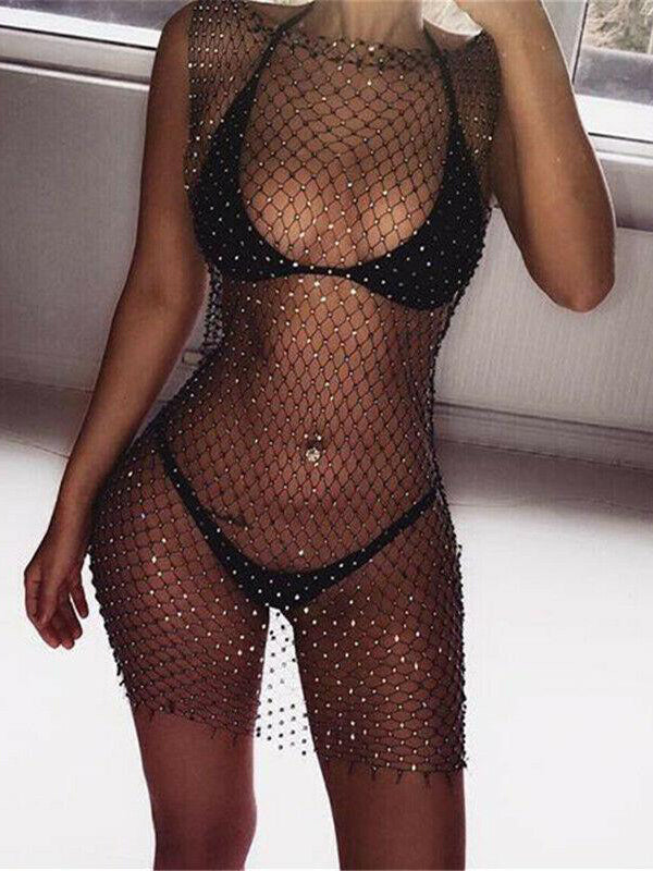 Shannon Diamond Crystal Fishnet Grid Mini Dress Bikini Cover Up