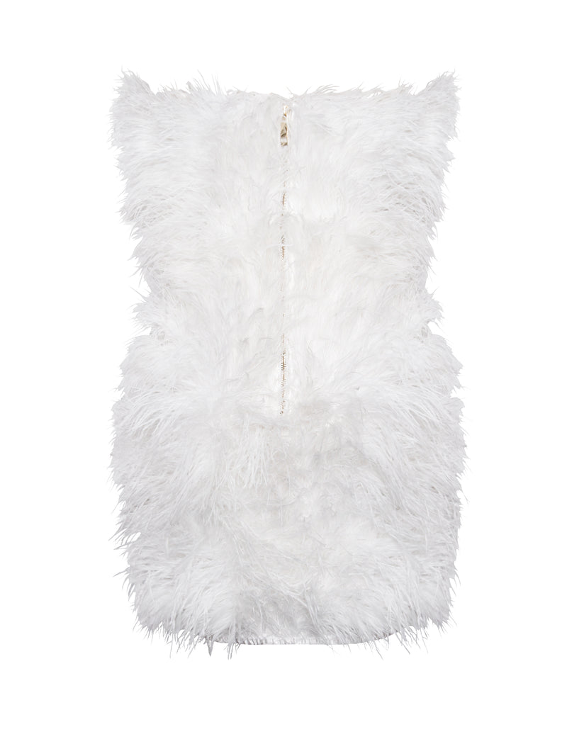 Adore You Strapless White Feather Dress - Miss Circle