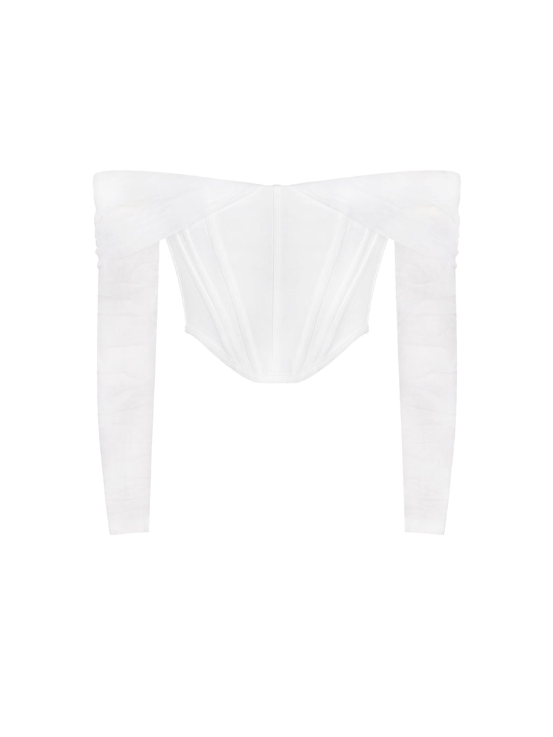 Yeimy White Corset Top With Mesh Sleeve