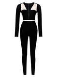 Jolie Sheer Cut Out Two Piece Bandage Pantsuit