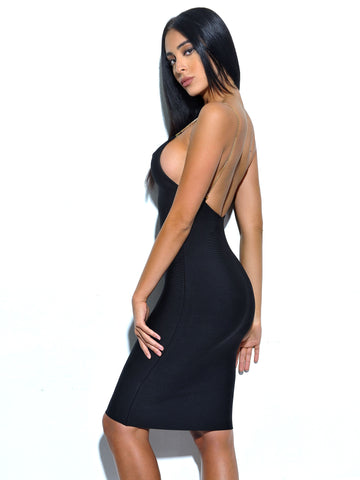 Yolanda Backless Gold Chain Strap Black Bandage Dress