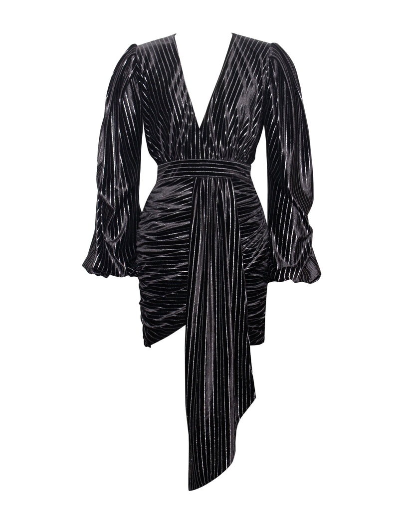 Time To Shine Black Silver Sparkling Stripe Velvet Draped Dress - Miss Circle